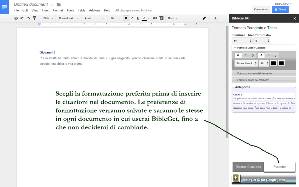 Screenshot BibleGet Google Docs Add-on 2
